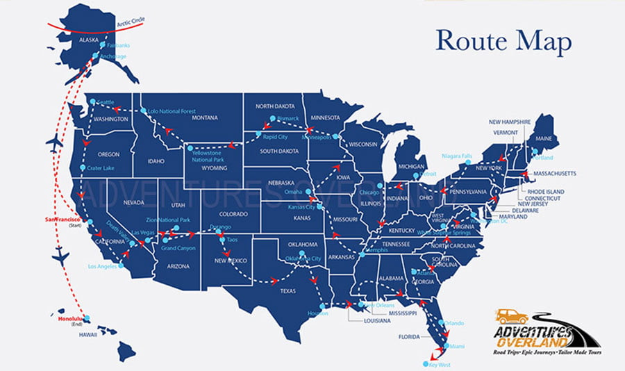 The Great American Road Trip 2020 - Route Map