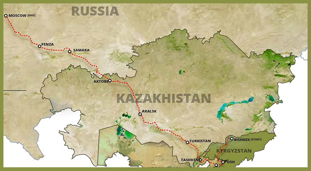 Central Asia Drive 2022 - Route Map