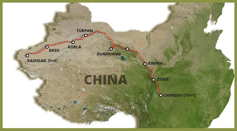 China The Silk Route Drive 2021 - Route Map
