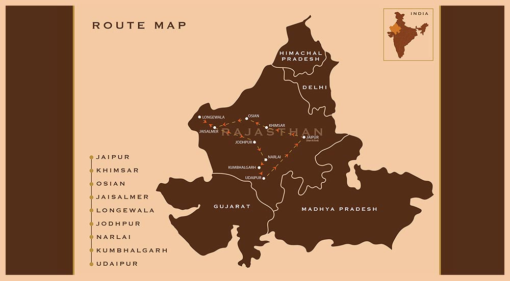 Royal Rajasthan Drive 2021 - Route Map