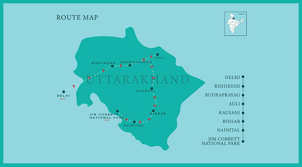 Uttarakhand Drive 2020 - Route Map