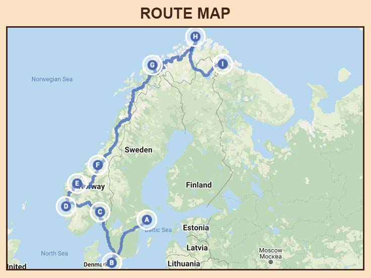 Best Of Scandinavia and Norway Cruise Train and Cruise - Route Map