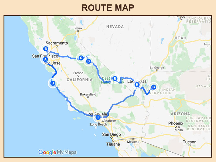 USA West Coast - Route Map