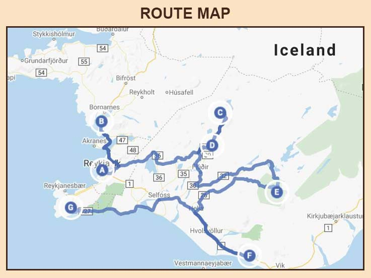 Iceland 07 Days - Route Map