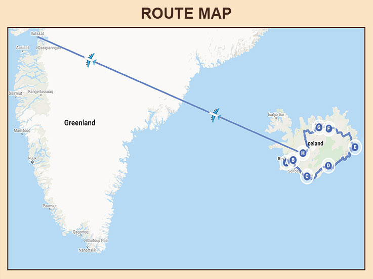 Iceland and Greenland - Route Map