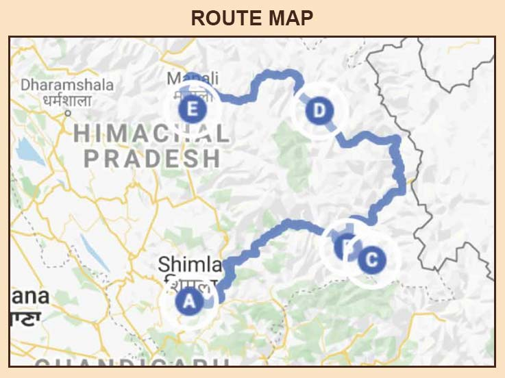 Lahaul and Spiti 06 Days - Route Map