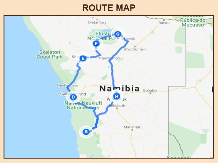 Namibia - Route Map