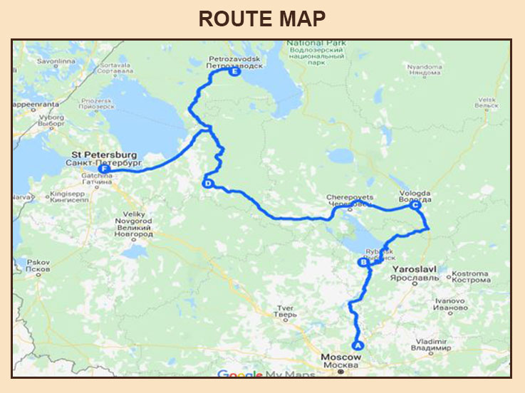 Winter Drive in Russia - Route Map