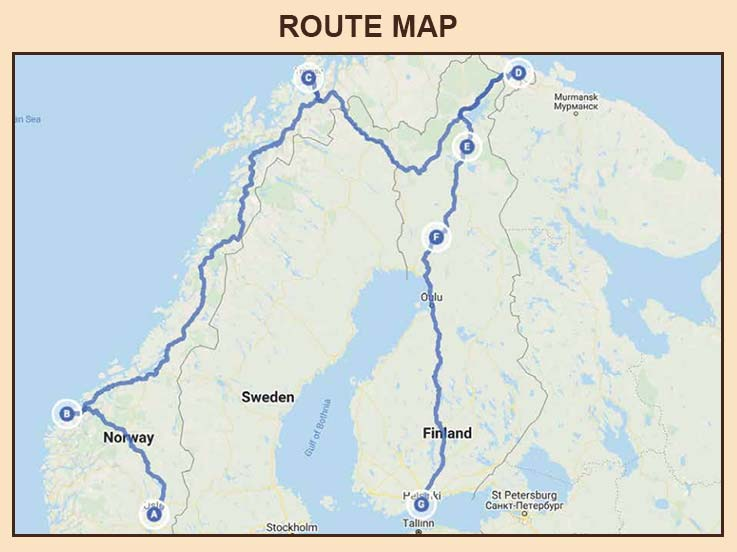 Norway and Finland - Route Map
