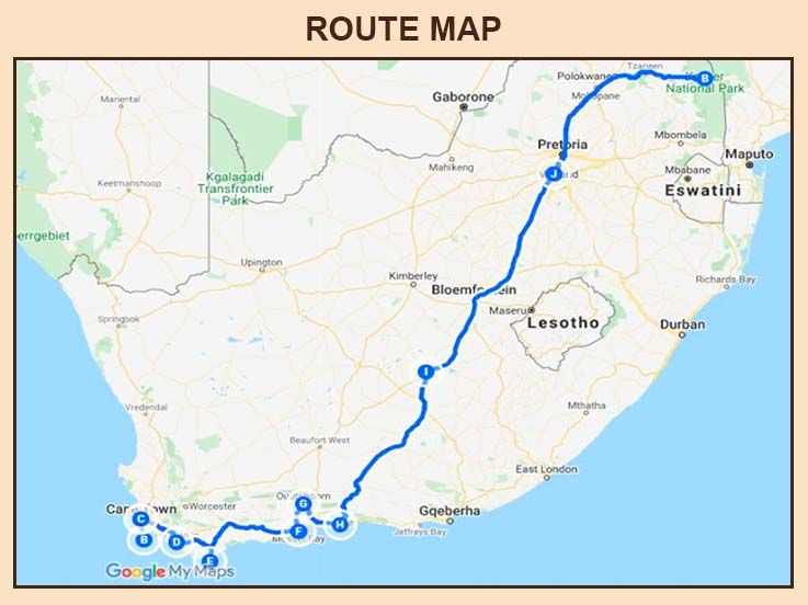 South Africa - Route Map