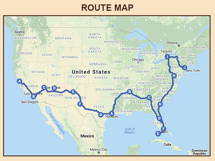 The Great American Road Trip - Route Map