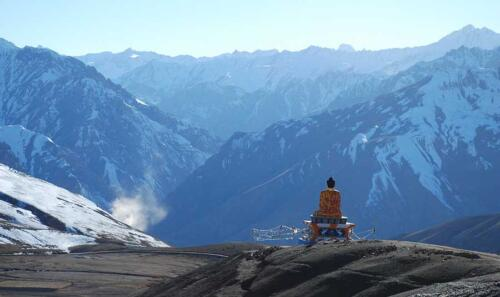 The giant Buddha statue in Langza village overlooking the beautiful valley