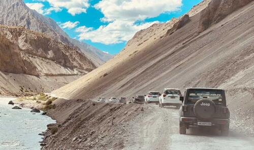 Our convoy rolling with confidence on the challenging terrains of Spiti Valley